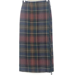 Country Shop Vintage Plaid Wool Wrap Skirt